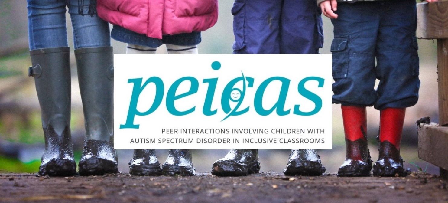 Peicas logo. In background picture about children standing together.